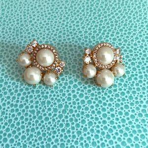Kate Spade Pearl and Rhinestone Cluster Earrings